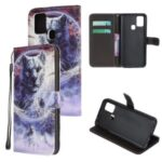 Pattern Printing Cross Texture Leather Mobile Cover for Samsung Galaxy M21/M30s – Tiger