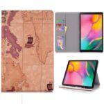 Map Pattern Printing Cool Leather Tablet Cover for Samsung Galaxy Tab S6 Lite P610 – Brown