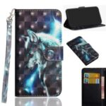 Light Spot Decor Pattern Printing Wallet Stand Leather Shell with Strap for Samsung Galaxy M31 – Wolf