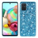 Glitter Powder Electroplating TPU Frame + PC Shell for Samsung Galaxy A91/Galaxy S10 Lite – Blue