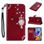 Owl Imprint Rhinestone Decor Leather Phone Cover Case for Samsung Galaxy A21s – Red