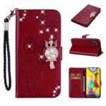 Owl Imprint Rhinestone Decor Leather Phone Stand Case for Samsung Galaxy M31 – Red
