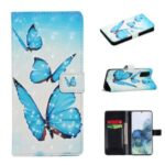 Light Spot Decor Pattern Printing Wallet Leather Mobile Cover for Samsung Galaxy S20 – Butterfly