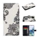 Light Spot Decor Pattern Printing Wallet Leather Mobile Case for Samsung Galaxy S20 Plus – Lace Flower