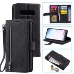Zipper Pocket 9 Card Slots Leather Wallet Stand Phone Case for Samsung Galaxy S10e – Black