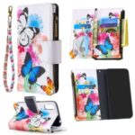 Pattern Printing Leather Stand Mobile Cover with Zipper Wallet for Samsung Galaxy A01 – Butterfly and Flower
