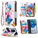 Pattern Zipper Pocket 9 Card Slots Leather Wallet Phone Case for Samsung Galaxy S20 Ultra – Three Butterflies