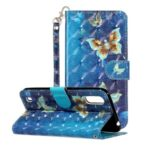 Light Spot Decor Embossed Pattern Leather Wallet Phone Case for Samsung Galaxy A01 – Butterfly