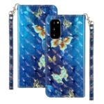 Light Spot Decor Patterned Embossed Leather Wallet Phone Case for Samsung Galaxy S20 – Butterfly