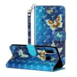 Light Spot Decor Wallet Stand Leather Pattern Printing Phone Shell for Samsung Galaxy A20/A30 – Butterfly