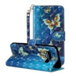 Light Spot Decor Patterned Embossed Leather Wallet Phone Cover Case for Samsung Galaxy S10 5G – Butterfly