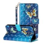Light Spot Decor Pattern Printing Wallet Stand Flip Leather Cover for Samsung Galaxy J6 (2018) – Butterfly