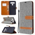 Color Splicing Jeans Cloth Skin Wallet Leather Phone Shell for LG K61 – Grey