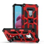 Armor Style PC TPU Cover with Magnetic Metal Sheet for LG K51 – Red