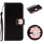 Glitter Powder Flower Decor Leather Stand Wallet Case for Honor 9A – Black