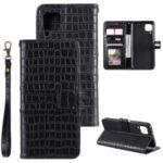 Crocodile Skin PU Leather Wallet Phone Case for Huawei P40 lite/nova 6 SE/Nova 7i – Black