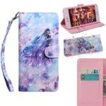 Light Spot Decor Pattern Printing Wallet Leather Phone Cover for Huawei Y5p/Honor 9S – Purple Wolf