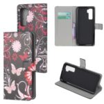 Phone Shell Pattern Printing Wallet Leather Case for Huawei P40 Lite 5G/nova 7 SE – Butterfly and Flower