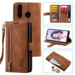 Zipper Wallet with 9 Card Slots Leather Phone Case with Strap for Huawei P30 Lite/nova 4e – Brown