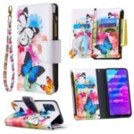 Pattern Printing Zipper Wallet Leather Phone Shell Case for Honor 9A – Butterfly and Flower