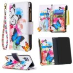 Pattern Printing Leather Stand Mobile Cover with Zipper Wallet Shell for Huawei P40 lite/nova 6 SE/Nova 7i – Butterfly and Flower