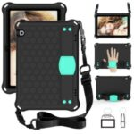 Honeycomb Texture EVA Tablet Shell with Shoulder Strap for Huawei MediaPad T5 10.1 – Black/Cyan