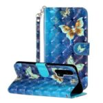 Light Spot Decor Wallet Stand Pattern Printing Leather Phone Shell for Honor 20 Pro – Butterfly