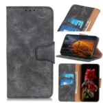 Vintage Style Leather Wallet Stand Mobile Phone Shell for Motorola Moto G8 Power Lite – Grey