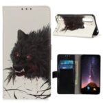 Pattern Printing Flip Leather Wallet Stand Phone Cover for Motorola Moto G8 Power Lite – Black Wolf