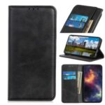 Auto-absorbed Split Leather Wallet Mobile Shell Casing for Motorola Moto G8 Power Lite – Black