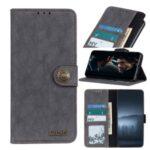KHAZNEH Vintage Style Leather Wallet Stand Case for Motorola Moto G8 Power Lite – Grey
