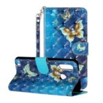 Light Spot Decor Pattern Printing Wallet Stand Leather Cover Shell for Motorola P40 Play – Butterfly