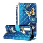 Light Spot Decor Pattern Printing Wallet Stand Leather Casing Shell for Motorola P40 Power – Butterfly