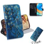 Pattern Printing Leather Wallet Case with Stand Shell Covering for Xiaomi Redmi Note 9 Pro – Tree with Flowers