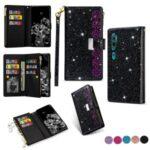 Glittery Starry Style Laser Carving Leather Case for Xiaomi Mi CC9 Pro/Mi Note 10/Mi Note 10 Pro – Black