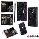 Glittery Starry Style Laser Carving Unique Leather Case for Xiaomi Redmi K30 Pro/Poco F2 Pro – Black