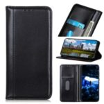 Auto-absorbed Litchi Skin Split Leather Shell for Xiaomi Redmi Note 9/Remi 10X 4G – Black