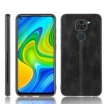 Stitching PU Leather Coated PC TPU Cell Phoe Case Shell for Xiaomi Redmi Note 9/10X 4G – Black