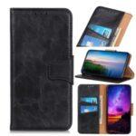 Crazy Horse Wallet PU Leather Phone Case for Xiaomi Redmi 10X 5G/10X Pro 5G – Black