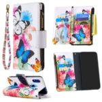 Pattern Printing Zipper with Wallet Leather Phone Case for Xiaomi Redmi 7 – Blue Butterfly