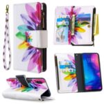 BF03 Pattern Printing Zipper Wallet Leather Phone Shell for Xiaomi Redmi Note 7 – Colorful Petals