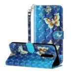 Light Spot Decor Pattern Printing Wallet Stand Leather Phone Shell for Xiaomi Redmi K30 – Butterfly