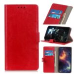 Crazy Horse Skin Leather with Wallet Cover for Xiaomi Redmi 9 – Red