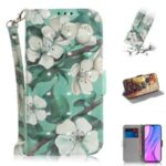 Light Spot Decor Pattern Printing Wallet Stand Leather Case with Strap for Xiaomi Redmi 9 – White Flower