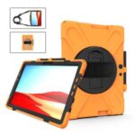 360° Swivel PC + Silicone Kickstand Tablet Case with Handy Strap and Shoulder Strap for Microsoft Surface Pro X – Orange