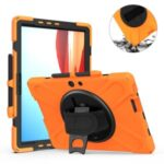 [Built-in Hand Holder Strap] 360° Swivel Kickstand  PC + Silicone Tablet Combo Shell for Microsoft Surface Pro X – Orange