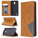 Geometric Pattern Auto-absorbed Leather Cover with Card Slots for Nokia 1.3 – Brown