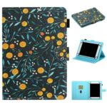 Pattern Printing Card Holder Stand Leather Tablet Case for 8-inch Tablets – Orange