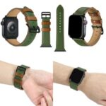 Fresh Contrast Color Genuine Leather Watch Strap for Apple Watch Series 5/4 44mm, Series 3/2/1 42mm – Green/Brown Line