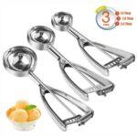 3Pcs/Set Ice Cream Scoops Cookie Scoop Trigger Stainless Steel Spoon